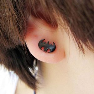 Batman Titanium Steel Black Stud Earrings Men