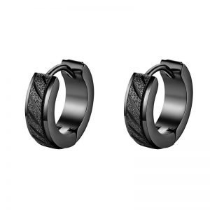 Mini Unique Hoop Earrings for Men Stainless Steel 3 Colors