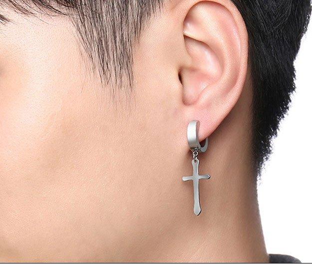 Cross Huggie Stud Men Earrings | A touch of faith-inspired beauty!