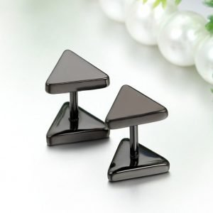 Stainless Steel Triangle Earrings Studs 3 Colors for Men