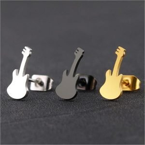 Titanium Violin Stud Men Earrings