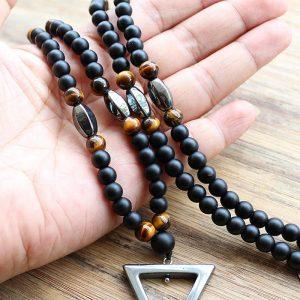 Tiger stone bead Black Hematite triangle pendant Necklace