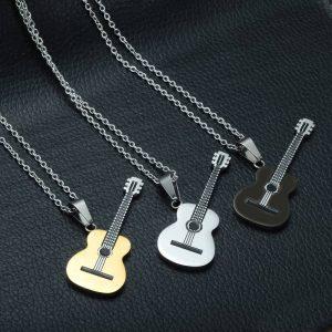 Titanium Music Guitar Men Necklace