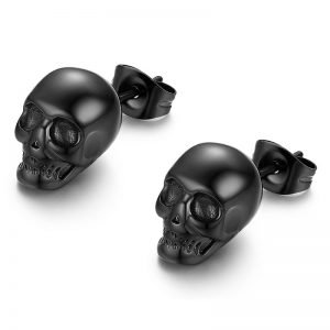 Black Skull Stainless Steel Stud Earrings