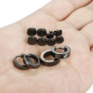 Stainless Steel Black Stud Earrings Collection