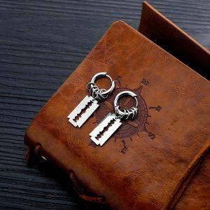 Razor Hoop Earrings for Men
