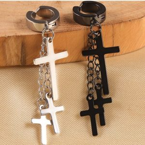 3 Hanging Cross Earring Men Clip On