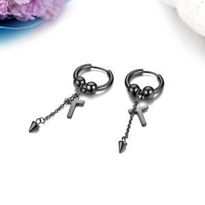 Punk Cross Earrings Hope Stainless Steel Chain for Men 3