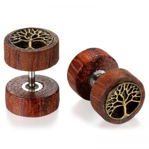 Wooden Stud Earrings Round Life Tree for Men