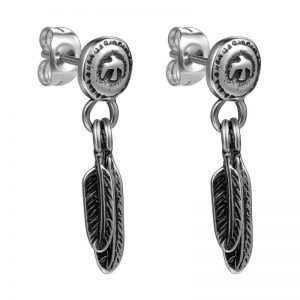 Double Feather Dangle Earrings Vintage Style for Men