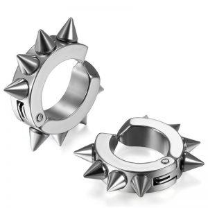 Clip on spike huggie earrings Hoop Stainless Steel Men