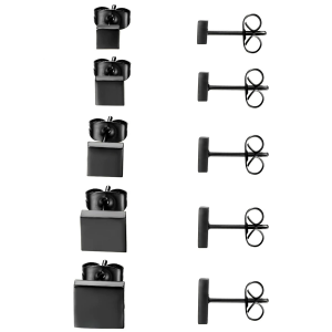 Black Stud Earrings Square Stainless Steel 3 Colors 5 Sizes