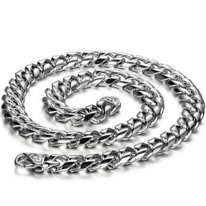 22 inch 8mm Braided Chain Necklace Stainless Steel Men