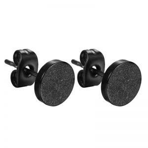 Matte Black Stud Earrings 4-8 mm Size for Men