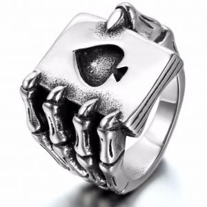 Claw Finger Poker Ring Gothic Stainless Steel for Men