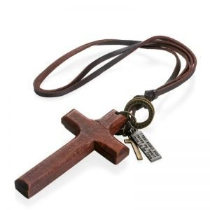 Wood Cross Necklace with Leather Cord Adjustable for Men 6