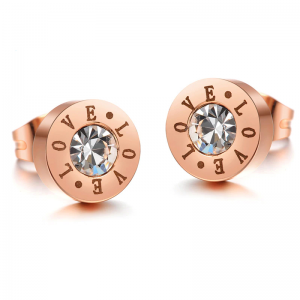Love Stud Earrings Rose Gold Color with Crystal