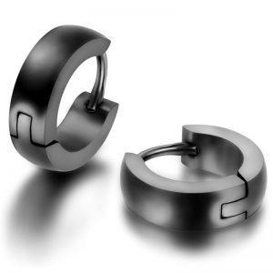 Mens Huggie Hoop Earrings 12mm 4 Colors