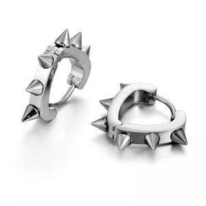 Spiked Earrings 14mm Huggie Hoop Heart Shaped for Men
