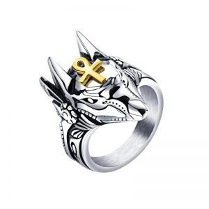 Anubis Ring Stainless Steel For Men with Ankh Cross