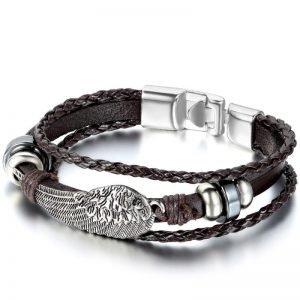 Angel Wings Bracelet Leather Black & Brown for Men