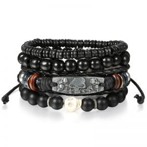 Leather Wrap Bracelet with Charms 7 Styles Mens