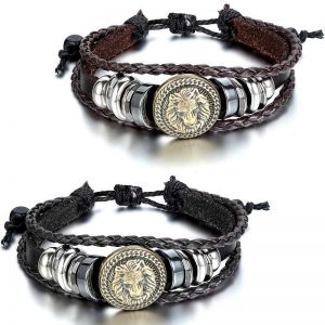 Lion Head Bracelet Leather Adjustable 2 Colors for Men