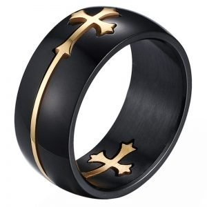 Black Cross Ring Stainless Steel for Men