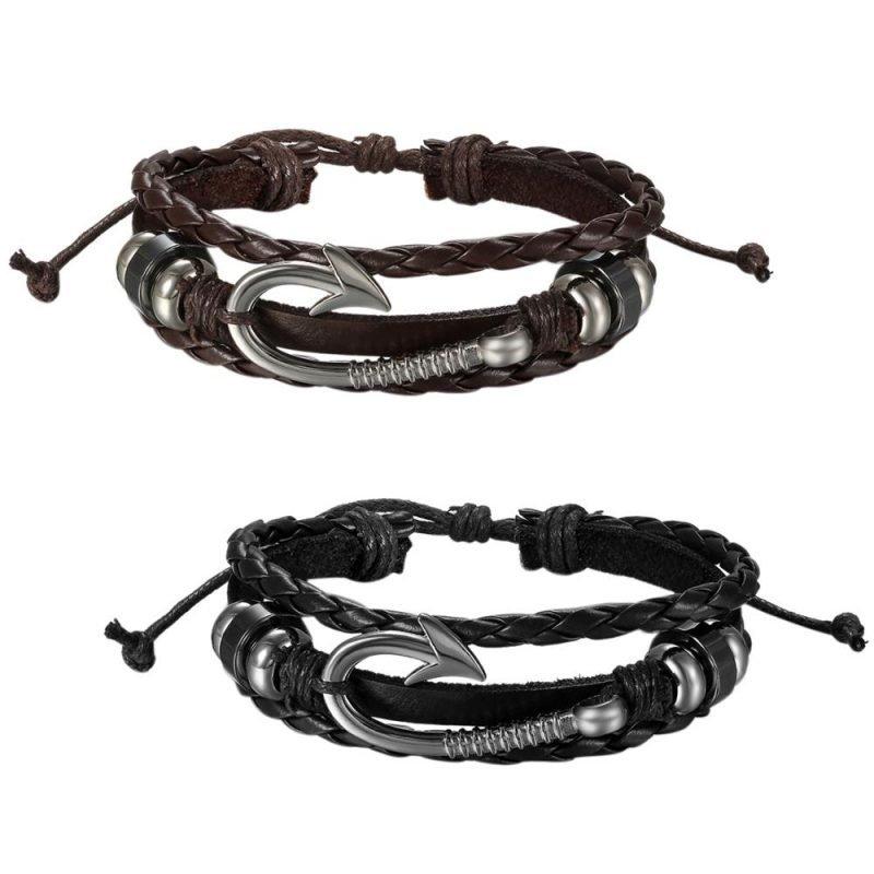 Fish Hook Bracelet Handmade Leather For