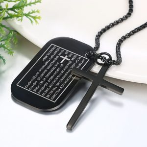Lords Prayer Cross Necklace Stainless Steel Black & Silver Colors Men 4