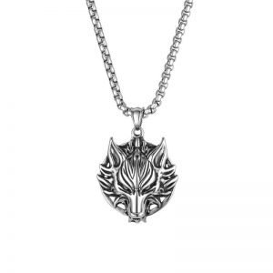 Wolf Head Necklace Stainless Steel Pendant for Men