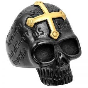 Black Skull Ring For Men Cross Stainless Steel Mens