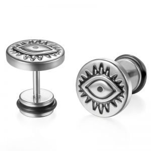 Evil Eye Stud Earrings Stainless Steel Silver Color