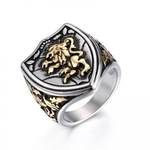 Lion King Ring Crown Shield Stainless Steel Men