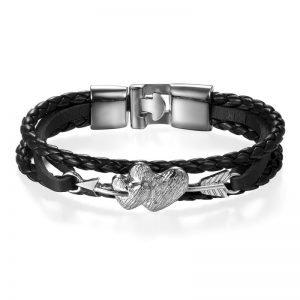 Love Heart Bracelet for Valentine's Day Braided Leather Men