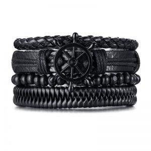 Multilayer Leather Bracelet Braided Black