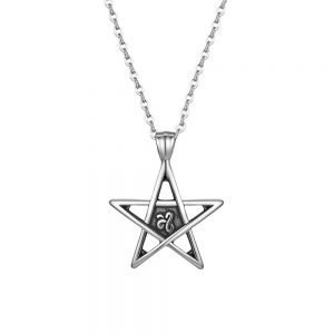 Pentacle Necklace Pendant Stainless Steel 22 inch for Men