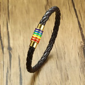 Pride Bracelet Rainbow Leather with Magnet Clasp