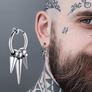 Retractable Spike Hoop Earrings Stainless Steel for Men