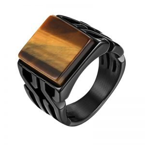 Tiger Eye Ring Vintage Black Mens