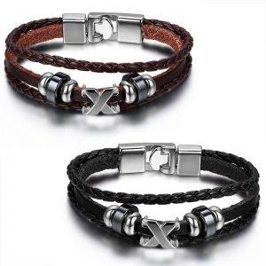 X Bracelet Leather 22cm Black & Brown for Men