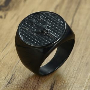 Black Trident Ring for Men