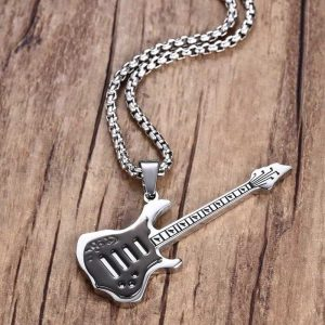 Electric Guitar Pendant Necklace Stainless Steel for Men