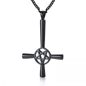 Inverted Cross Necklace Pendant Black
