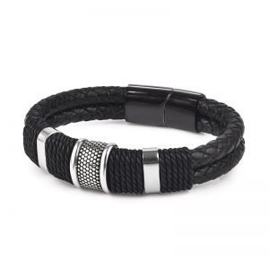 Mens Woven Bracelet Leather Black