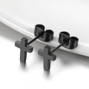 Cross Studs Earrings Stainless Steel Black 2