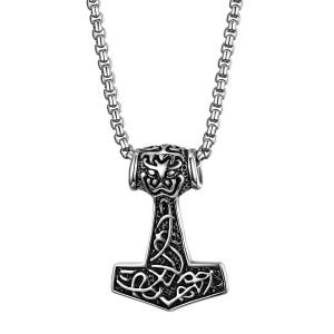 Thors Hammer Necklace Stainless Steel Silver