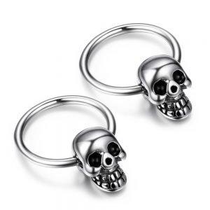 Skull Hoop Earrings Stainless Steel For Men