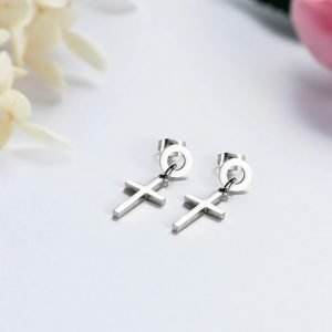 Circle Drop Earrings with Small Cross