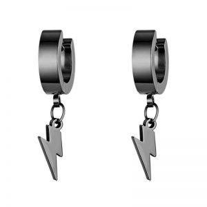 Lightning Stainless Steel Hoop Earrings 3 Colors Black